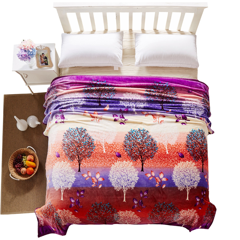 Cozzy New Multicolor Tree Print 100% Plush Velvet Fleece Throw Blanket on Bed or Sofa Couch Lightweight & Easy Care Queen King(China (Mainland))