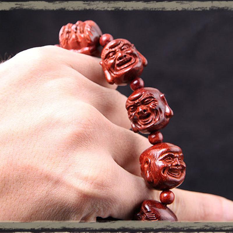Boutique Natural Lobular Rosewood Eighteen prayer beads bracelets Prayer beads Bracelet Bangle Wrist Ornament Wood Collectibles(China (Mainland))