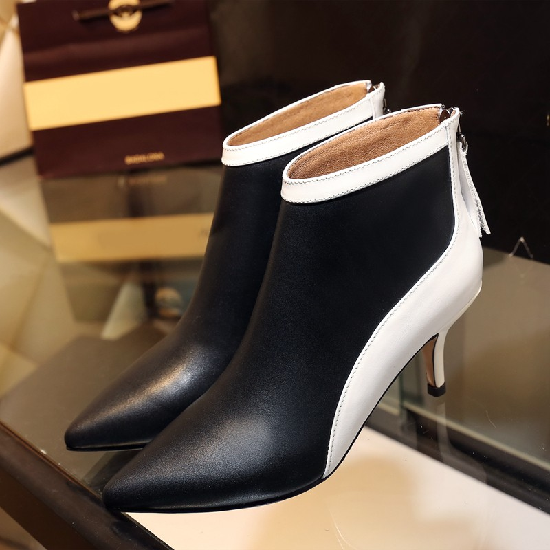 Women's Sexy 7cm Thin High Heel Pointed Toe Ankle Boots Brand Designer Patchwork Genuine Leather Short Booties Shoes for Women