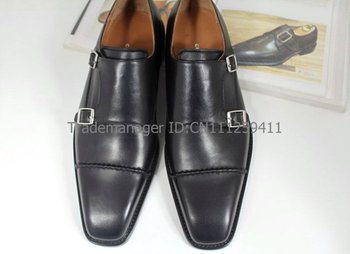 Square toe semi-brogue genuine calf leather men's dress/classic monk straps shoe No.MS18