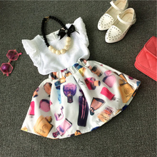 2015 summer sleelveless girls clothes flowers printed girls dress kids clothes dress vestidos infantis(China (Mainland))