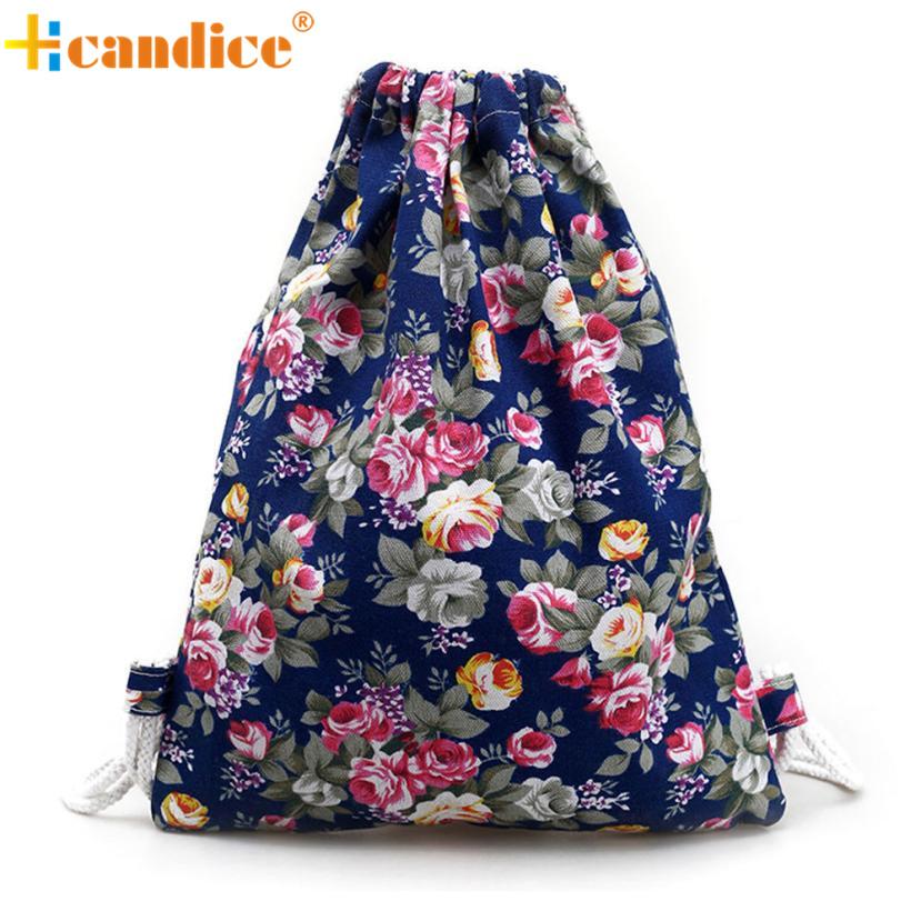 Naivety 2017 New Lady Floral Canvas Backpack Women Fashion Sweet Drawstring Bag JUL1 drop shipping