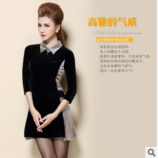 Brand New Brand High quality Spring autumn 2015 new women retro palace ladies gold velvet doll collar dress cheap wholesale(China (Mainland))