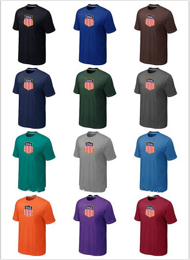 2014 Winter Olympic USA Graphic Legend Performance Collection Locker Room Short Sleeve O-Neck 100% Cotton TShirt 14 Color 6 Size(China (Mainland))