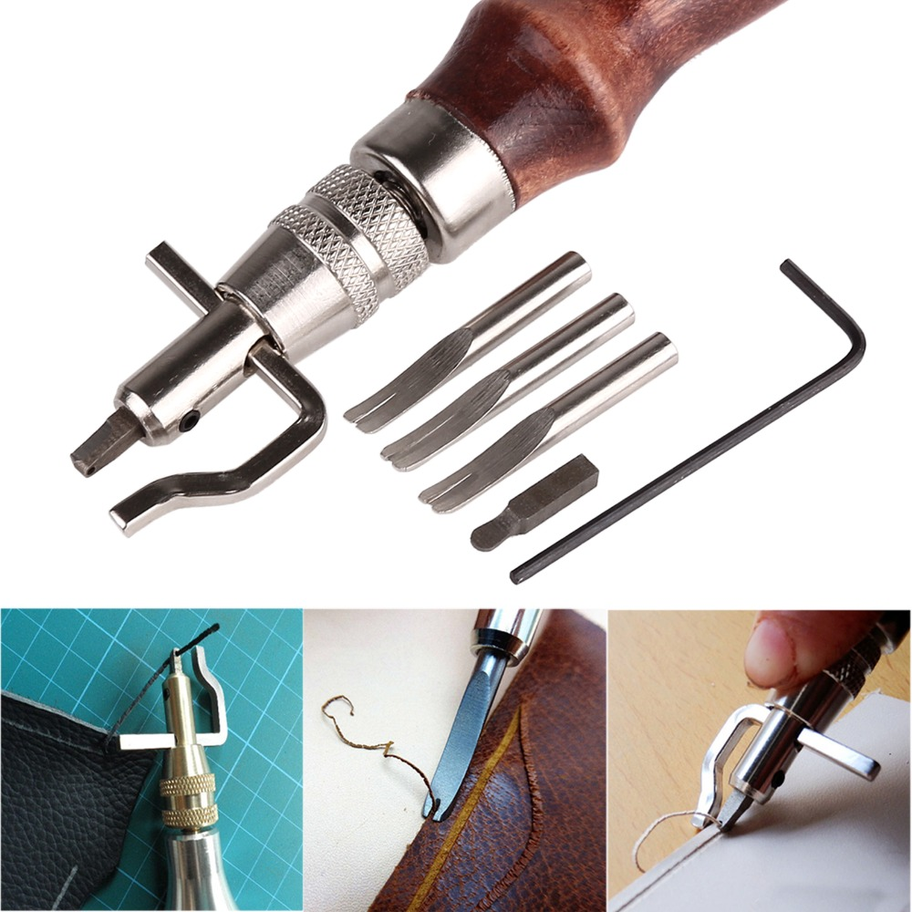5 In1 DIY Wood Leathercraft Adjustable Pro Stitching Groover Crease Leather Tools