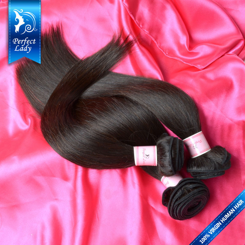 Perfect Lady brazilian kinky straight hair bundles natural black 100 human hair weave 3pcs Brazilian virgin hair straight(China (Mainland))