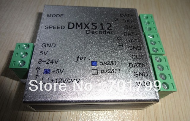 DC5V input DMX to WS2801 SPI Converter;512 channel output,max170 pixels controlled
