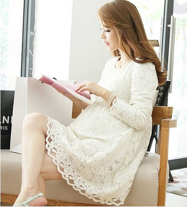 2015 New Fashion High Quality Lace Dress for Pregnant Women Long Sleeve Maternity Dress for Pregnancy Plus Size Clothes  <br><br>Aliexpress