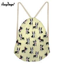 NoisyDesigns бультерьер цветочным узором шнурок для школьниц Для женщин Softback забавные рюкзак сумка Mochila Feminina сумки(China)