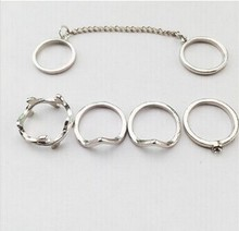 2015 new 6pcs lot Shiny Punk style Gold plated Stacking midi Finger Knuckle rings Charm Leaf