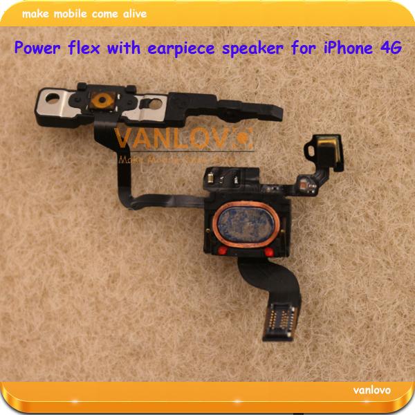 100pcs/lot used original proximity light sensor ear speaker power button flex cable For iPhone 4G GSM free shipping
