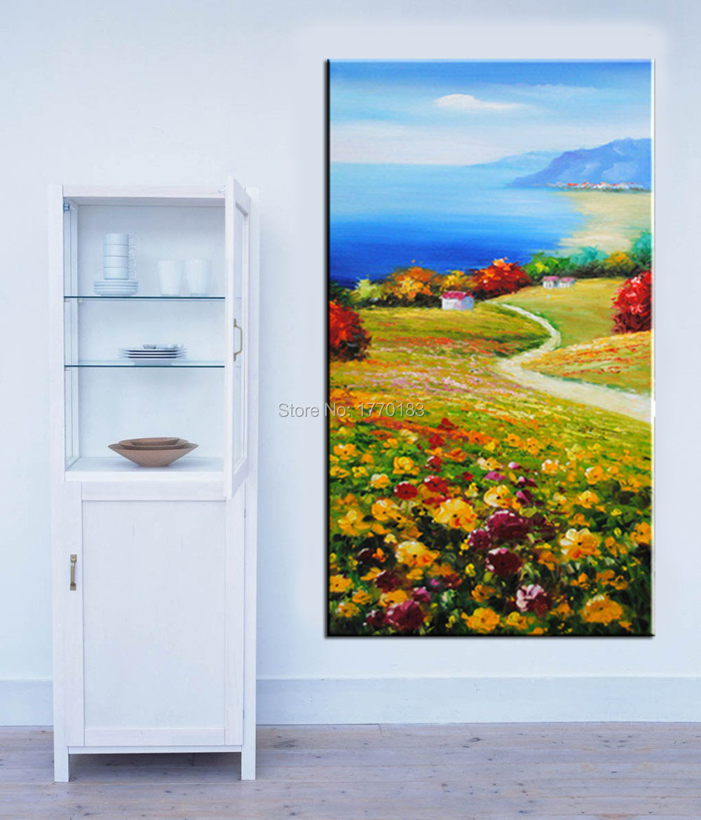 Handmade Modern mediterranean Painting Pastoral style Oil Picture seaside House Hillside flowers Wall paintings Home Decor(China (Mainland))