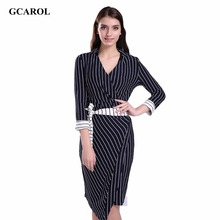 Women V-Neck Nine Point Sleeve Bodycon Dress With Sashes Wrapped Striped Design OL Office Wear Elegant Long Dress For 4 Season(China (Mainland))