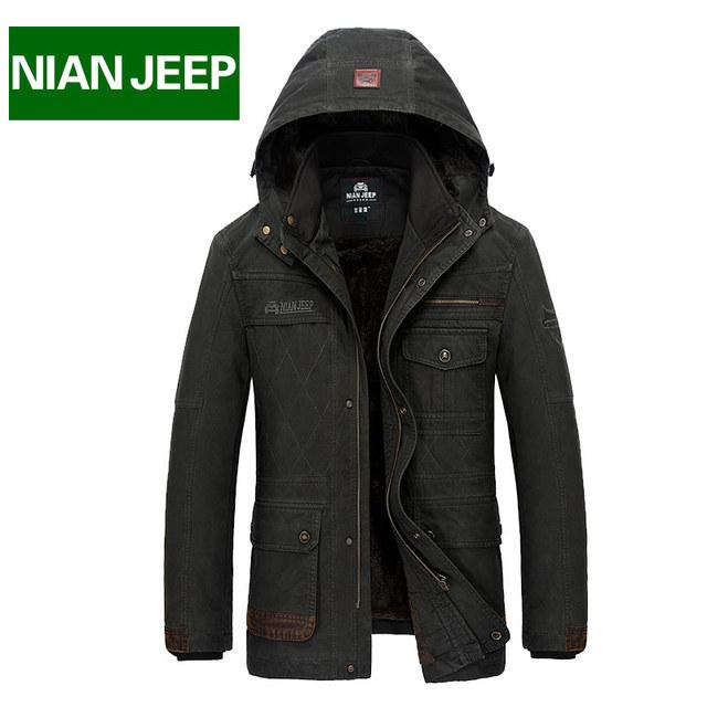 Зимние куртки мужские длинные пальто Большой размер s-4xl NianJeep хлопок толстые ...