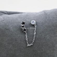 Fashion Rhineatone Arc Pentagram Ear Chain Stud Wrap Clip Cuff Earring Free Shipping(China (Mainland))