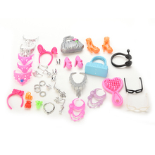 Set of Fashion Jewelry Necklace Earring Bowknot Crown Accessory For Barbie Dolls Kids Gift(China (Mainland))