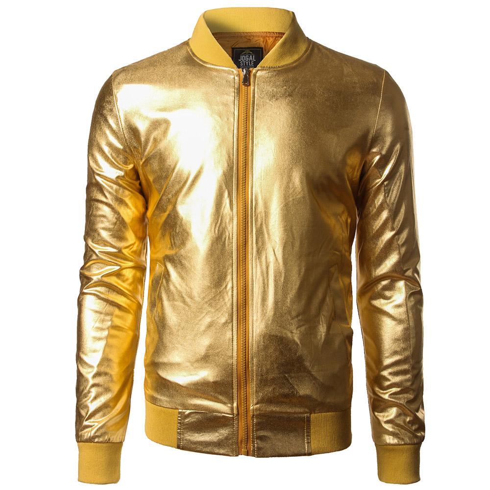 New Trend Metallic Gold Bomber Jacket Men/Women Veste Homme 2016 Night Club Fashion Slim Fit Zipper Baseball Varsity Jacket(China (Mainland))