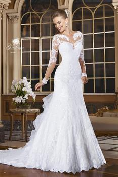 Сексуальная русалка свадебные платья 2015 романтические кружева аппликация невесты платья кнопку назад с длинным рукавом Vestido де Noiva суд поезд