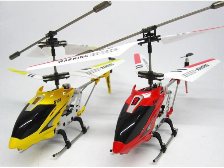 S107G R/C Helicopteryellow /red color Super mini 3.5 channel remote control helicopter gyro with flash effect 2pcs/lot(China (Mainland))