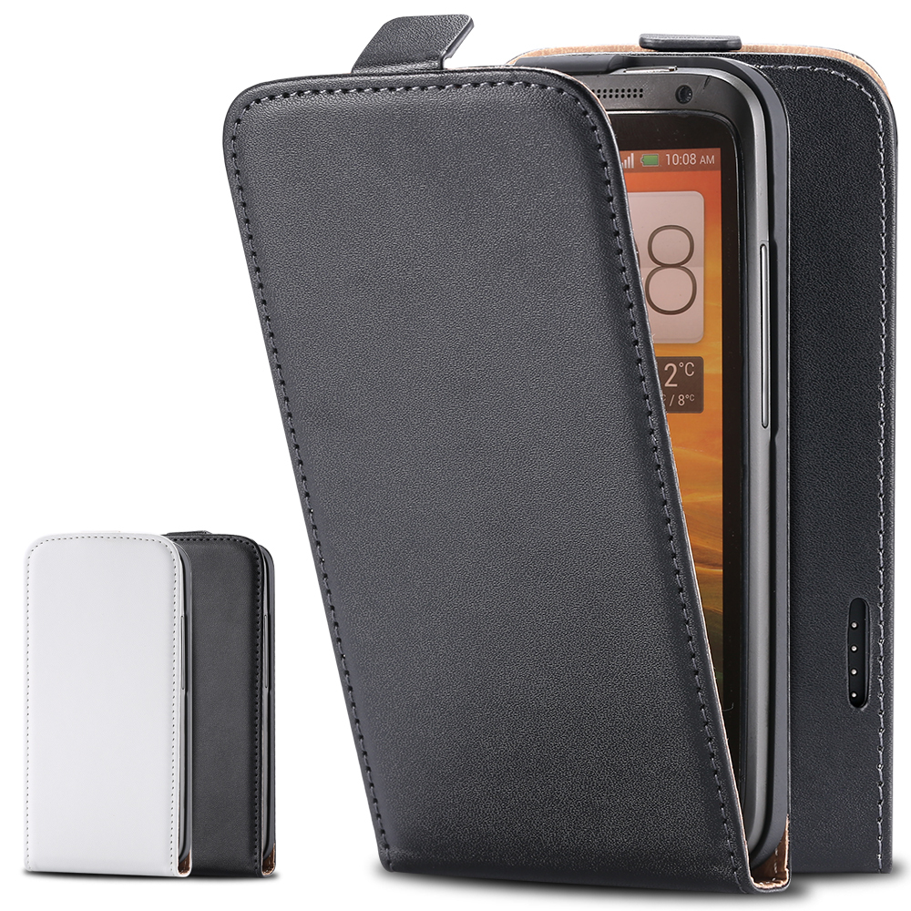 For HTC One X Flip Case Fashion Real Genuine Leather Case For HTC ONE X S720e G23 Magnetic Vertical Open Phone Cover One X Black(China (Mainland))