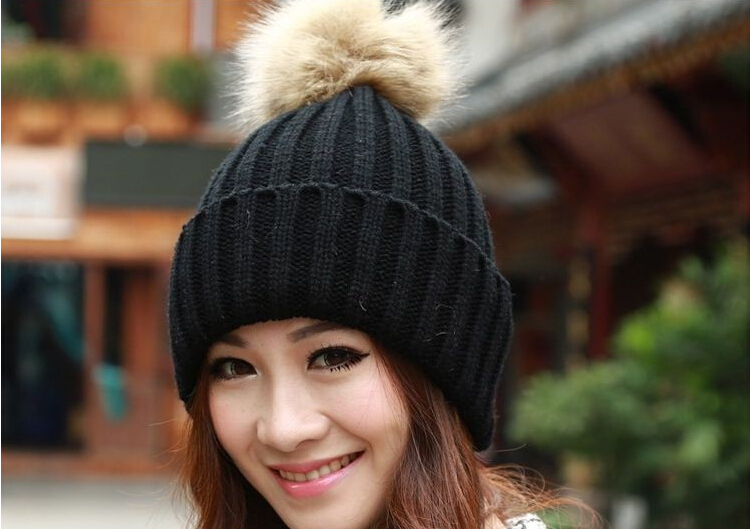 Women's Candy Beanie Knitted Caps Crochet Faux Raccoon Rabbit Fur Pompons ball hat Ear Protect Women HA9457(China (Mainland))
