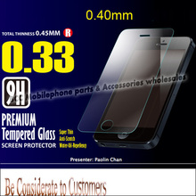 0.33mm/0.4mm Premium Tempered Glass LCD Screen Protector Protective Film For iPhone 4 4g 4s 5 5S 5C screen film & Retail Package