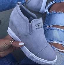 Delle donne della caviglia stivali con zeppa scarpe da donna tacchi alti pompe altezza incleasing stivaletti sapato feminino zapatos de mujer casual dropship(China)