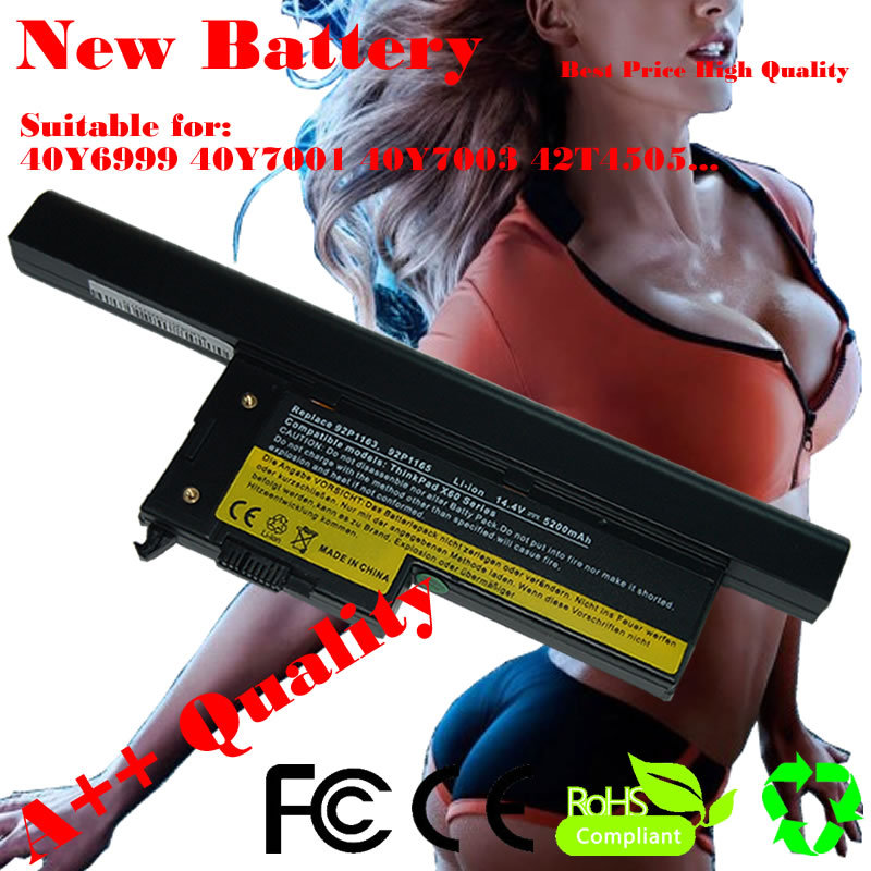 NEW 5200mAh 8 Cell Laptop Battery For IBM ThinkPad X60 X60s X61 X61s Series 40Y6999 40Y7001 40Y7003 42T4505 ASM 92P1170(China (Mainland))
