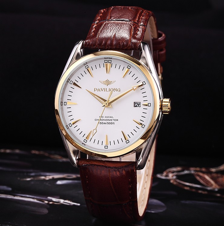2015 new fashion commercial leather band automatic