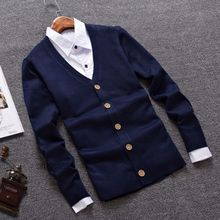 Mens Thin Slim Fit Cardigan Jumper Sweater Plain Preppy V Neck Button Casual New 058-083(China (Mainland))
