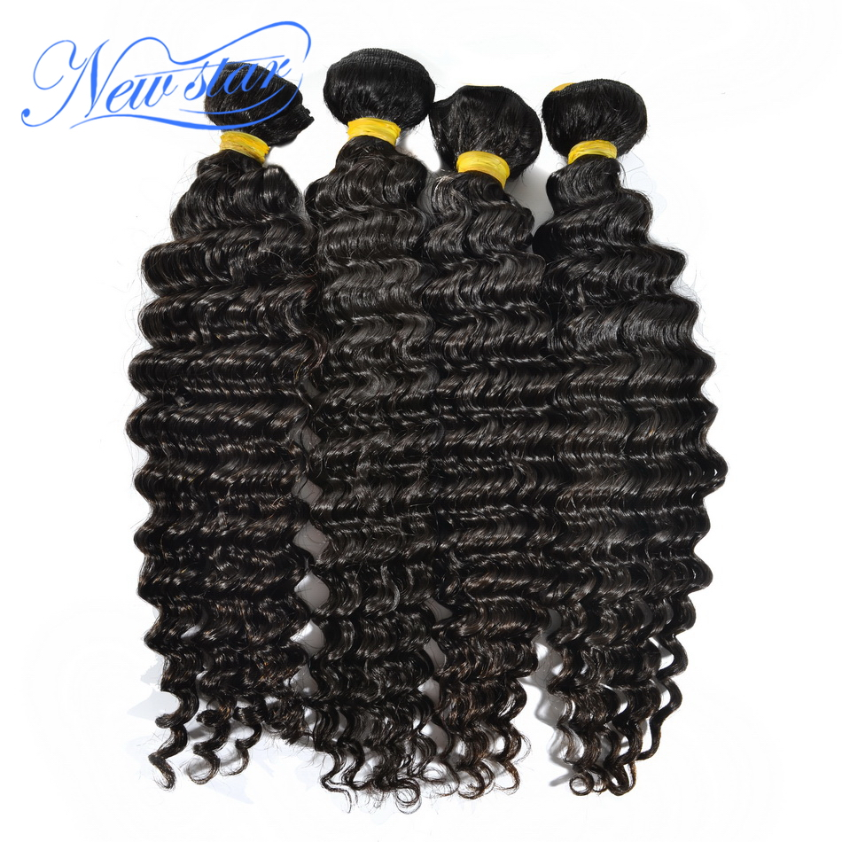 Guangzhou new star hair Brazilian deep wave virgin hair 4 pieces/lot unprocessed virgin hair extension weaves