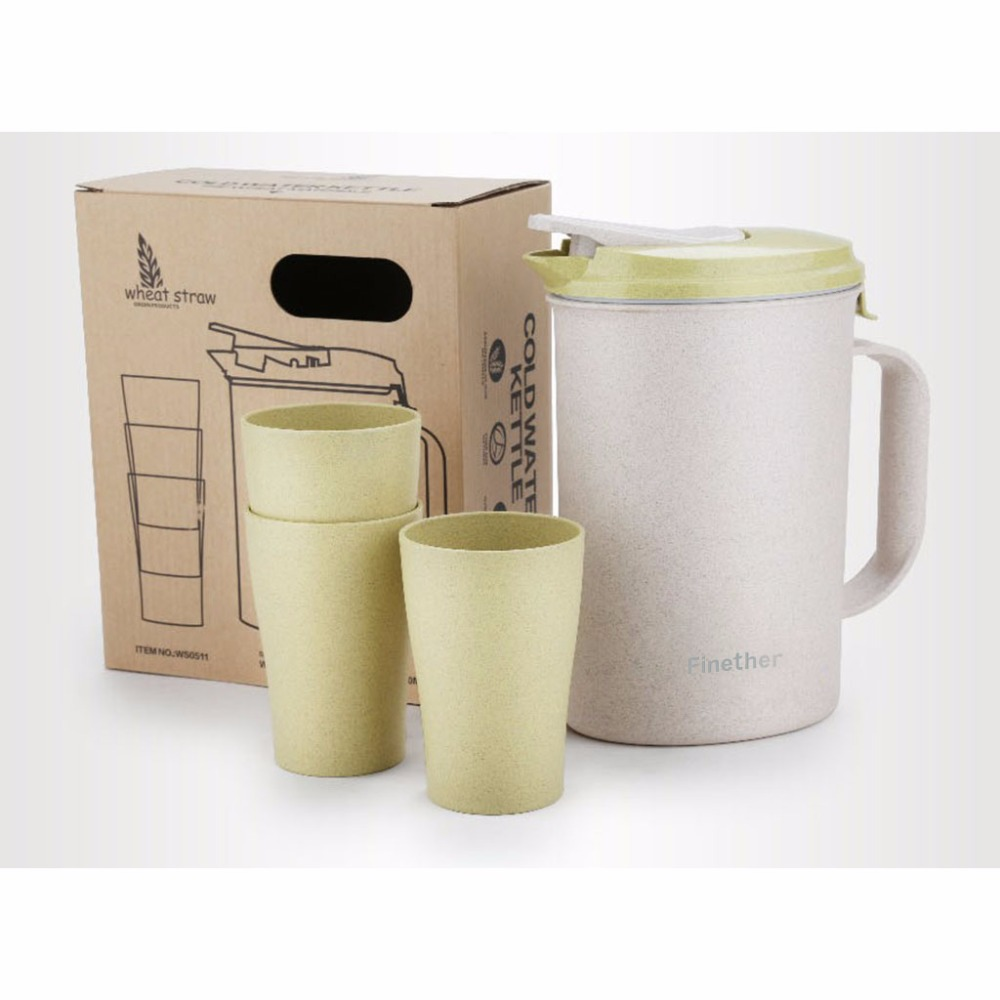 Finether Wheat Straw Water Bottle Tea Kettle Beverage Pitcher Jug Carafe with Lid + 3 Cups Mugs Cold Water Pot Set for Home(China (Mainland))