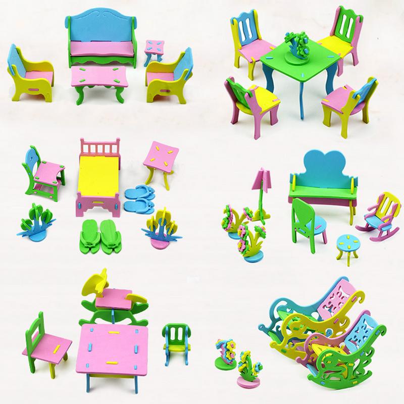 New DIY Children EVA Handmade Creative Furniture 3D Model Puzzles Kindergarten Building Game Baby Kids Educational Toys Gifts(China (Mainland))