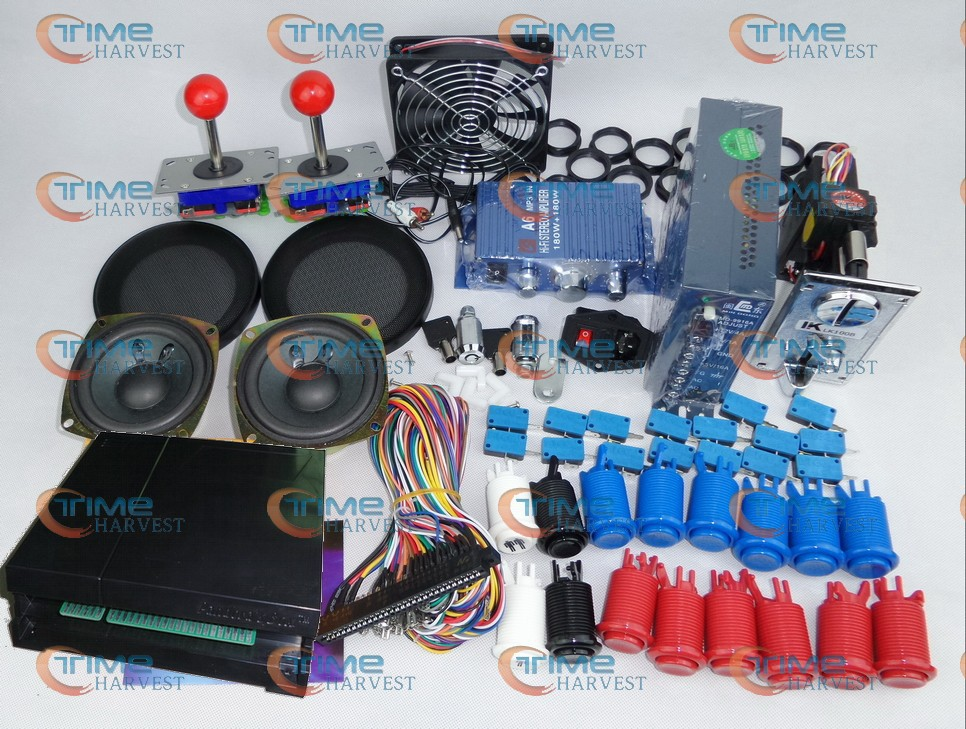 Arcade parts Bundles kit With Pandora's Box 3 Joystick Microswitches American Style Player Button To Build Up Arcade Cab Machine(China (Mainland))