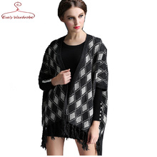 Lady long Cardigan Plaid tartan Batwing for female Half sleeve V-neck with Tassel hem women sweater Feminino camisolas