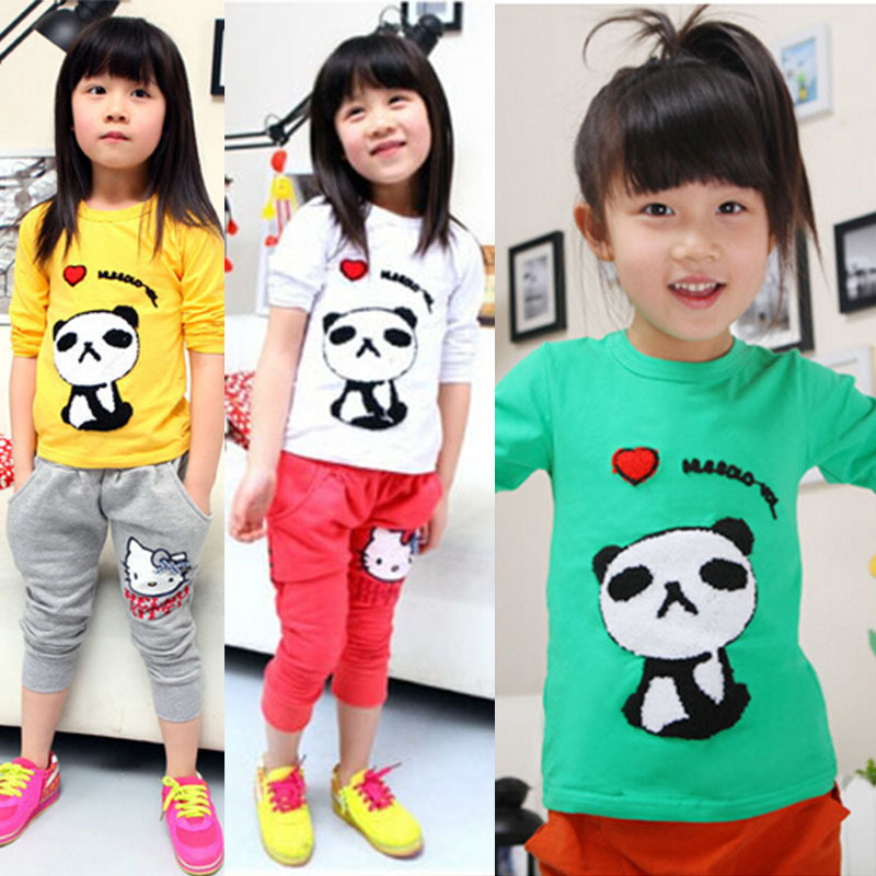 1 PCS New Cotton Girls tees Tops Children T-shirt Baby Girl Long sleeve t shirts Cartoon Blouse Panda Cute printed(China (Mainland))
