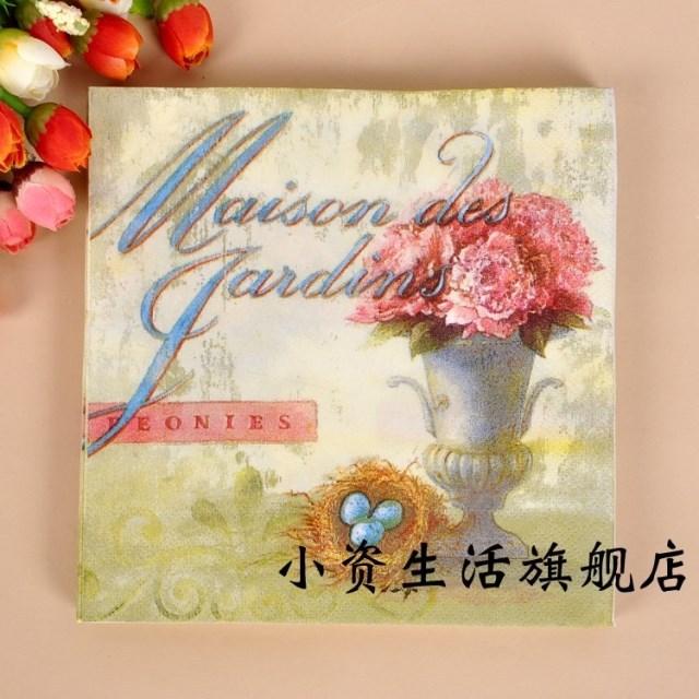 Vintage 20 Piece/lot 100% Virgin Wood Pulp bird nest Pink Flower Bonsai Style Paper Napkins for Party Festival Decoration(China (Mainland))