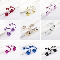Summer Jewelry Hot Sale Fashion Double Ball Earrings For Girls Candy Color Pearl Stud Earrings Women Brincos Pendientes Bijoux