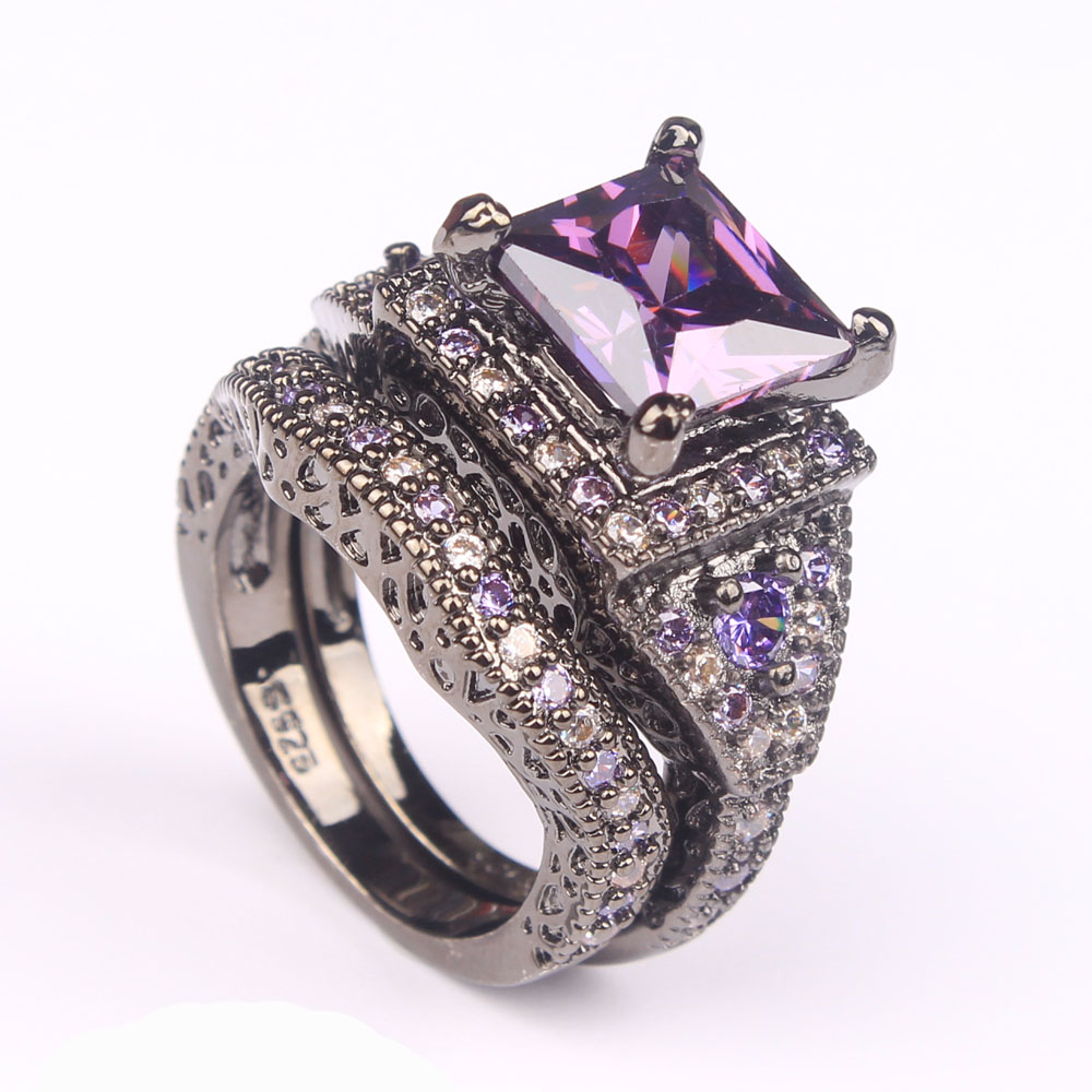 Гаджет  2016 black ring sets HOT black gun color zircon pink purple fashion lady finger rings new design jewelry for women wedding Rings None Ювелирные изделия и часы