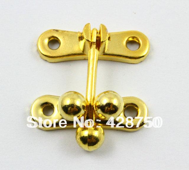 Gold Jewelry Box Hasp Latch Lock 31x33mm with Screws