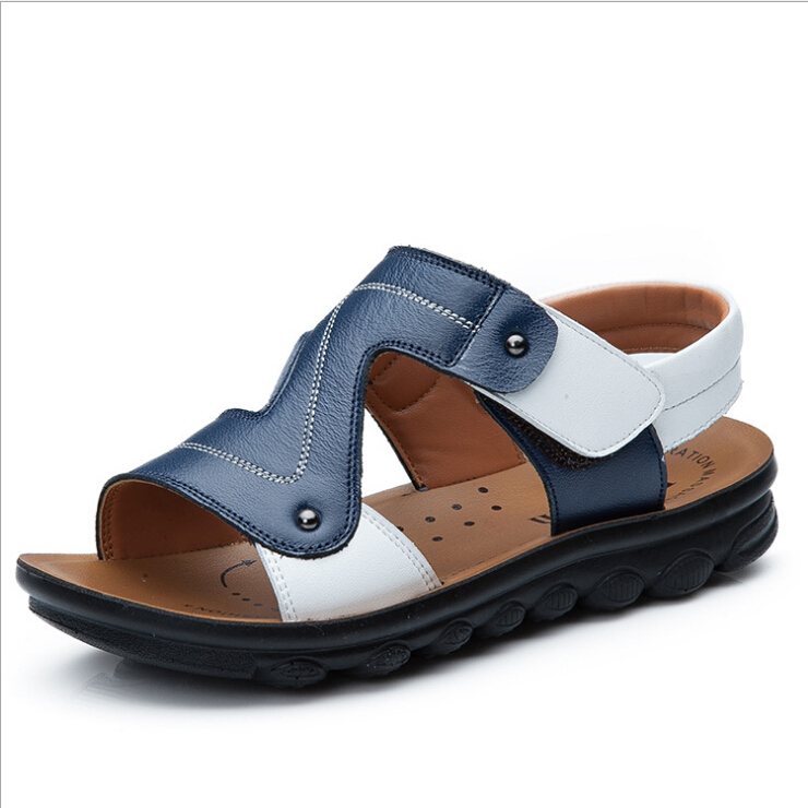 brand children genuine leather sandals kids summer shoes flat boys beach sandal high quality casual sandals for boy wholesale(China (Mainland))