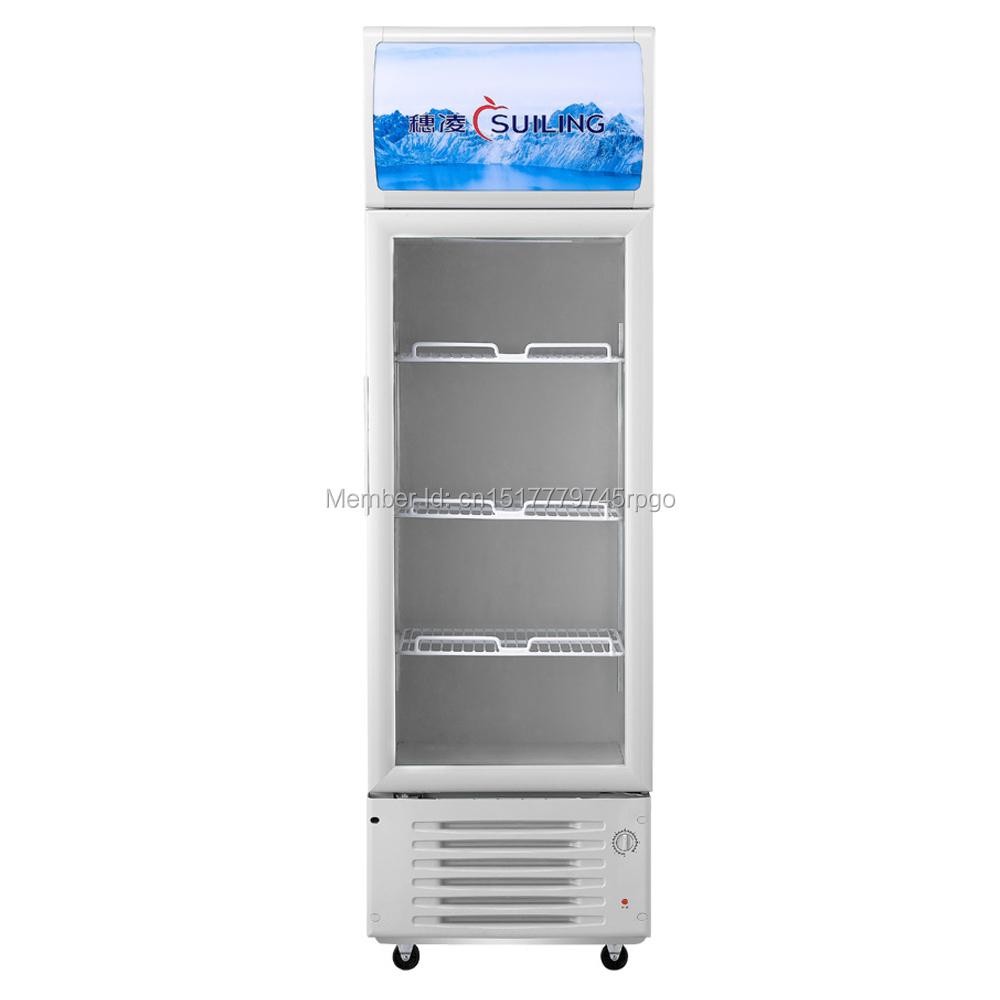209L Glass Swing 1-Door Milk Beer Soda Beverages Cooler Commercial Refrigerator Merchandiser Display Upright Freezer 7.4 cu ft(China (Mainland))