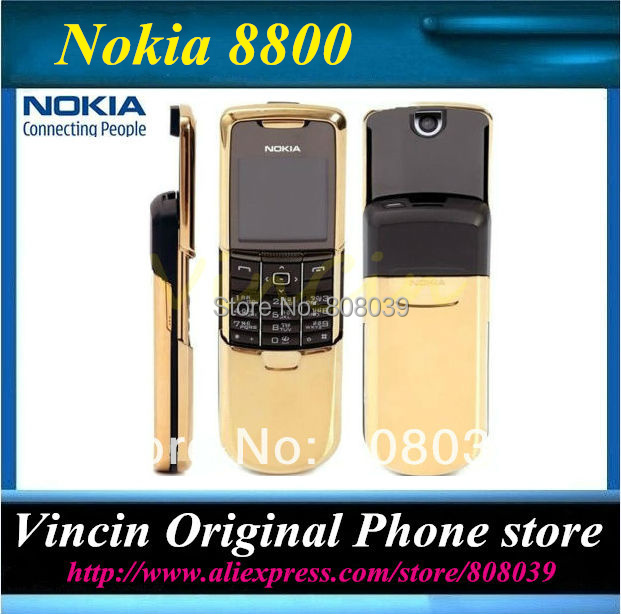 Original Nokia 8800 Unlocked Mobile Phone comes with Russian Keyboard 3 color black gold silver in stock Refurbished(China (Mainland))