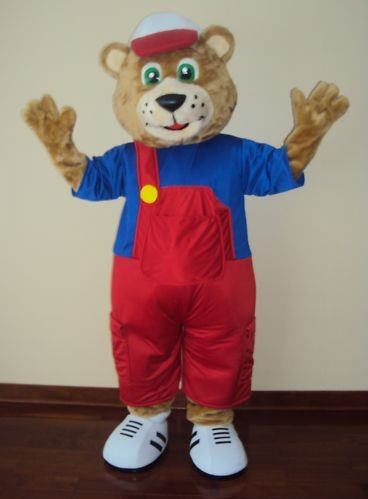 ohlees wear bear overalls mascot costumes Chirstmas party Halloween Fancy Dress Adult Size professional custom made(China (Mainland))