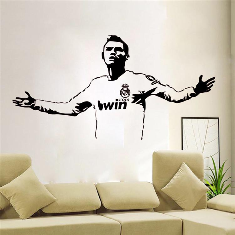 L19 Hot Wallpaper Basketball Football star Wall Stickers Living Room Sofa bedroom Waterproof Pvc Diy Mural Decal home decoration(China (Mainland))