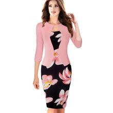 素敵な永遠のワンピースフェイクジャケット簡潔なエレガントなパターン作業ドレスオフィスボディコン女性 3/4 またはフルスリーブシースドレス b237(China)