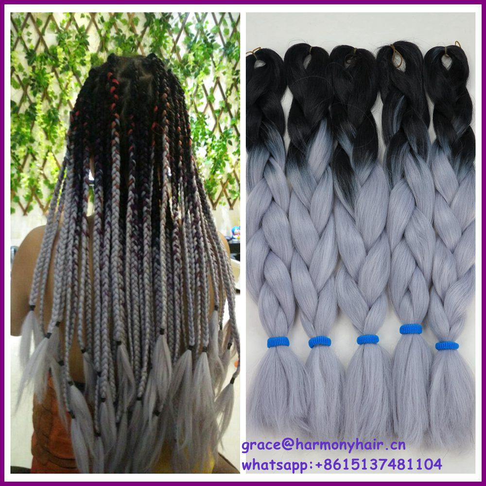 10packs kanekalon ombre braiding hair box extensions black/light grey color small twist braids - Harmony Fashion extension & tools Supply store