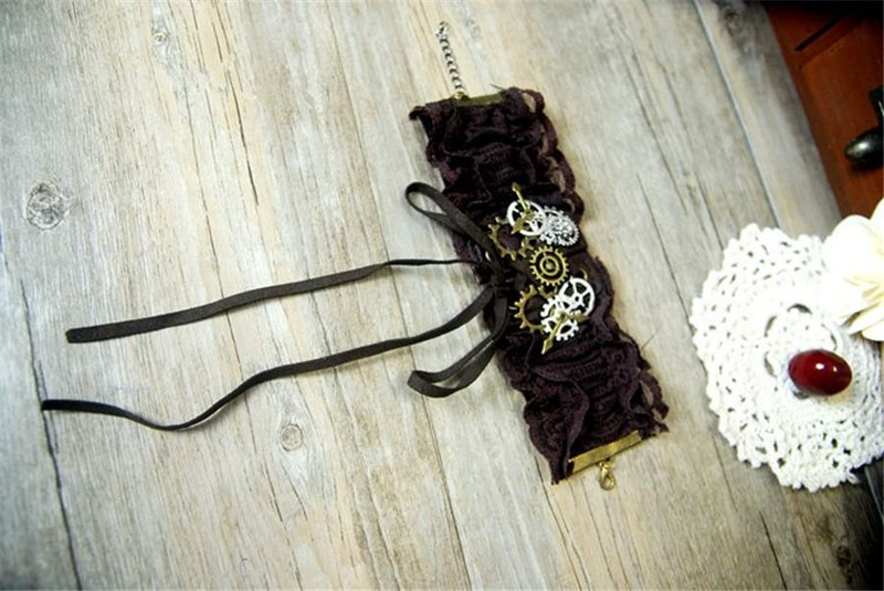 1pc Lolita Girls Gears Lace Bracelet Steampunk Victorian