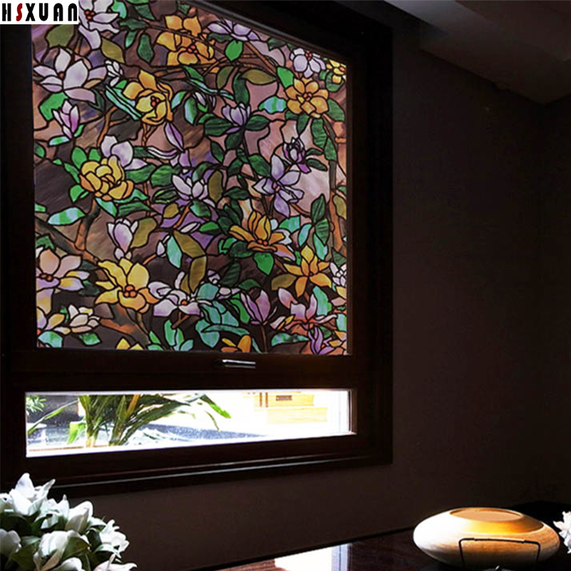 70X100cm Hsxuan brand PVC Opaque Static Clings frosted glass stickers Magnolia 3d stained bathroom decorative window film 703102(China (Mainland))