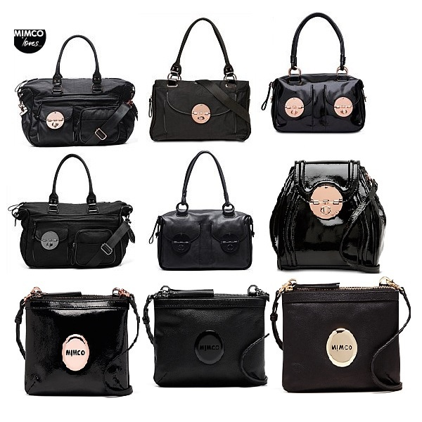 Mimco Bag Baby Lucid Black Genuine Leather Offbeat Rose Gold Turnlock Patent Zip Top Secret Couch